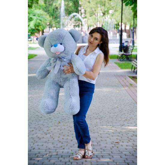 Плюшевый мишка серый 110 см Бант