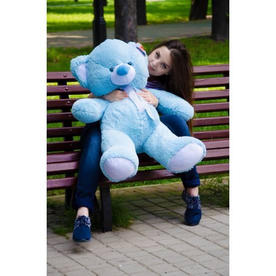 Плюшевый мишка голубой 100 см Томми