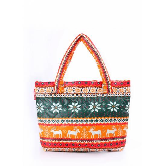 Дутая сумка оранжевого цвета с оленями