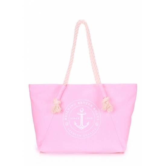 Коттоновая сумка розового цвета с трендовым принтом