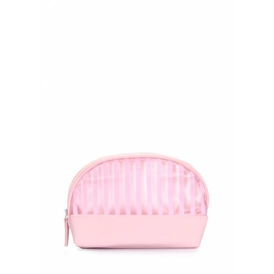 Розовая косметичка в полоску
