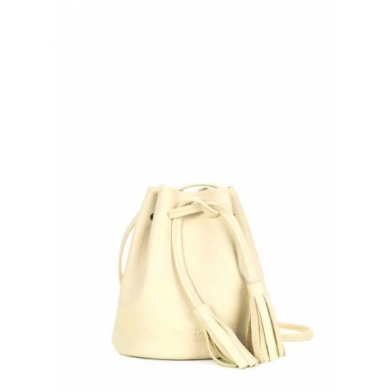 Кожаная сумочка желтого цвета на завязках