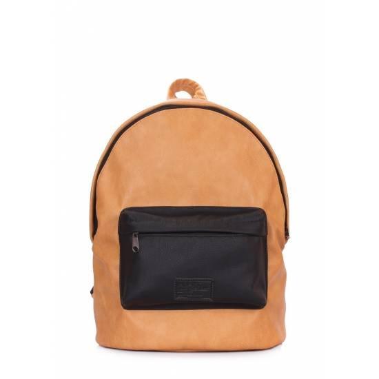 Оранжево-черный рюкзак из искусственной кожи