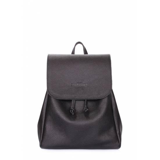 Кожаный рюкзак черного цвета на завязках