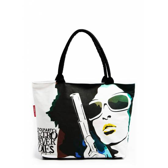 Коттоновая сумка белого цвета с трендовым принтом