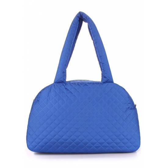 Стеганая сумка-саквояж синего цвета