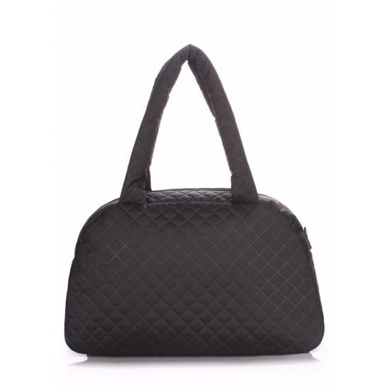 Стеганая сумка-саквояж черного цвета