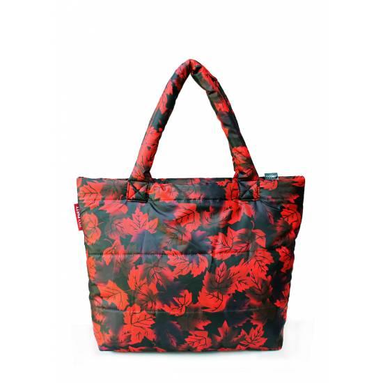 Дутая сумка красного цвета с принтом