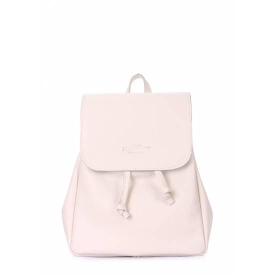 Кожаный рюкзак бежевого цвета на завязках