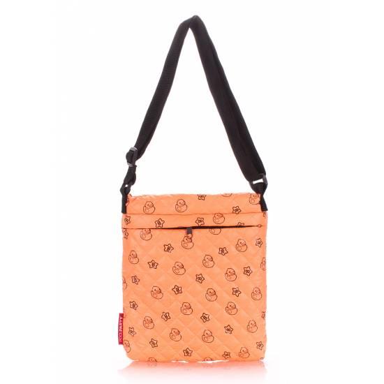Сумка-планшет оранжевого цвета с рисунком