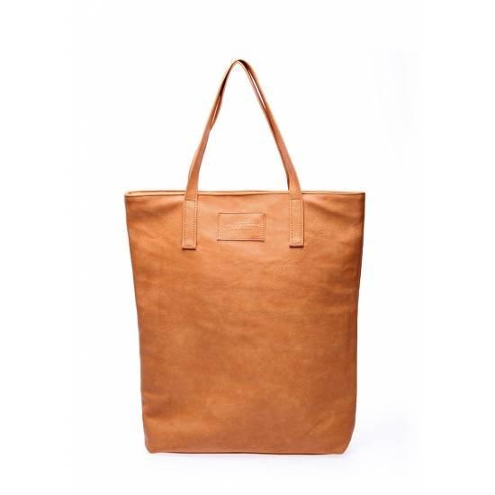 Коричневая сумка с одним отделением и карманом