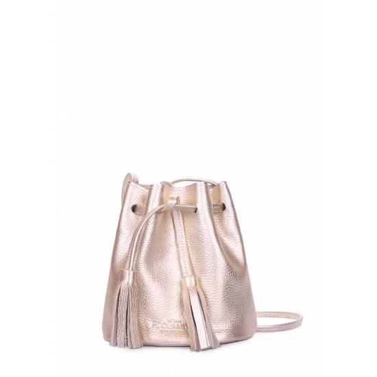 Кожаная сумочка золотого цвета на завязках