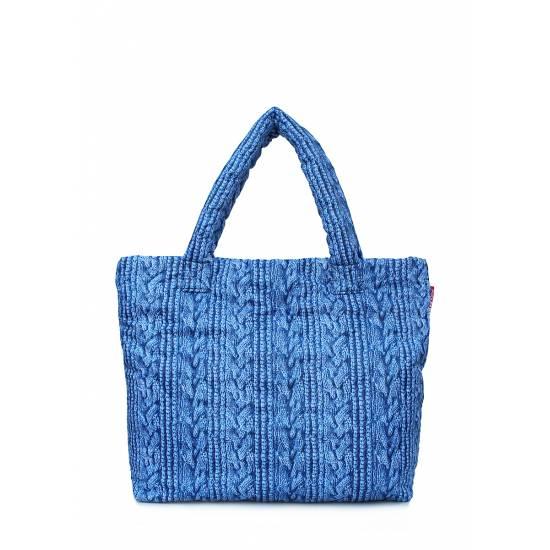 Дутая сумка синего цвета с вязкой