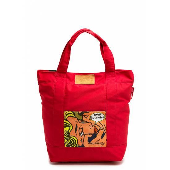 Коттоновая сумка красного цвета