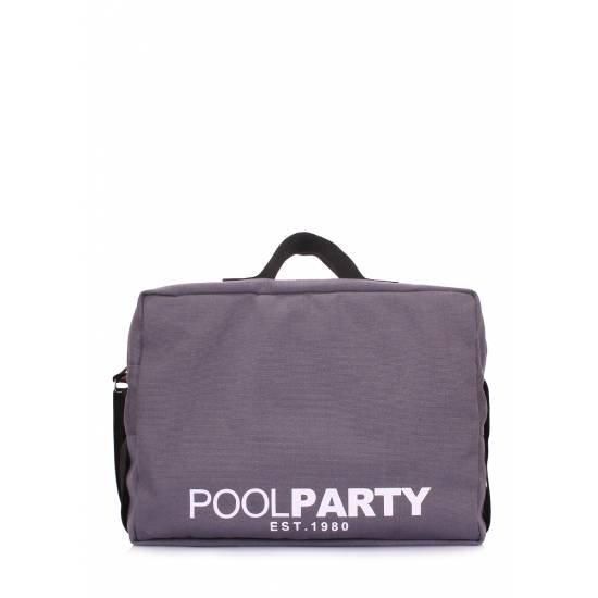 Коттоновая сумка серого цвета с ремнем на плечо