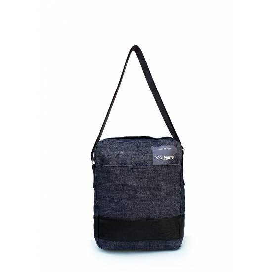 Мужская джинсовая сумка синего цвета с ремнем