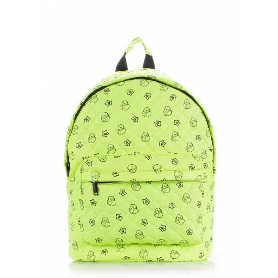 Стеганый рюкзак салатового цвета с рисунком