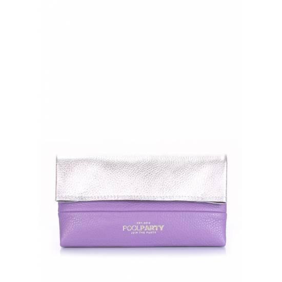 Кожаная косметичка-клатч фиолетового цвета