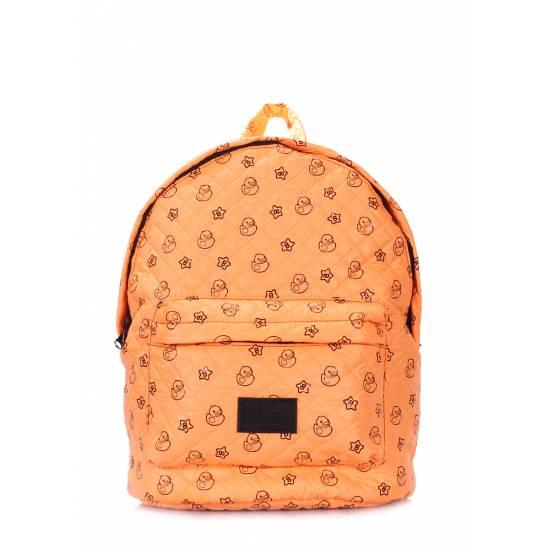 Стеганый рюкзак оранжевого цвета с рисунком