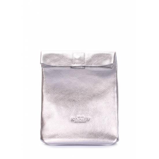 Кожаная сумка-клатч серебряного цвета