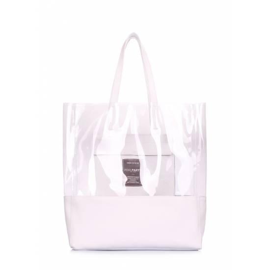 Прозрачная сумка черного цвета с кожаными вставками