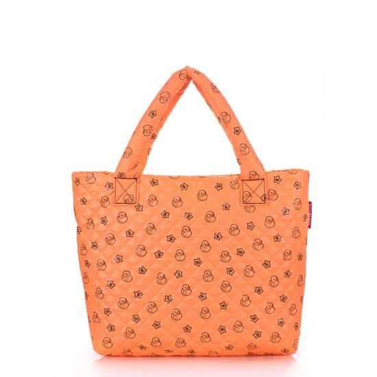 Дутая сумка оранжевого цвета с принтом