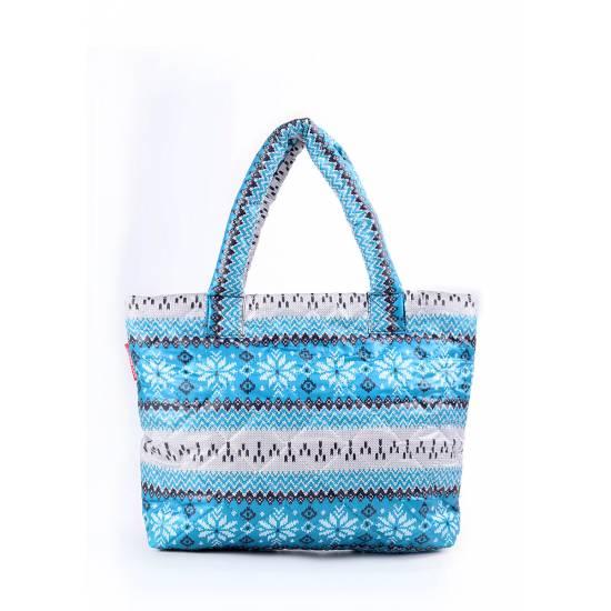 Дутая сумка синего цвета с северным узором