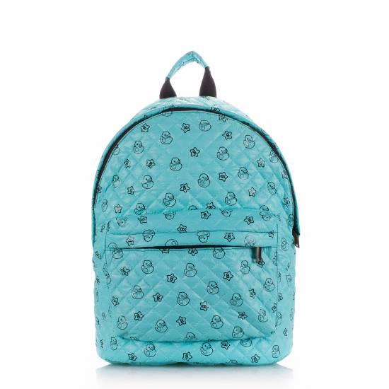 Стеганый рюкзак голубого цвета с рисунком