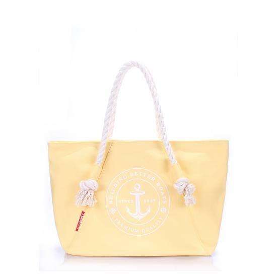 Коттоновая сумка желтого цвета с трендовым принтом