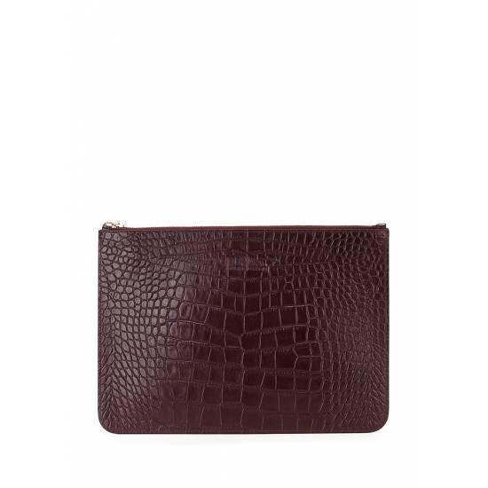 Кожаная сумочка-клатч коричневого цвета
