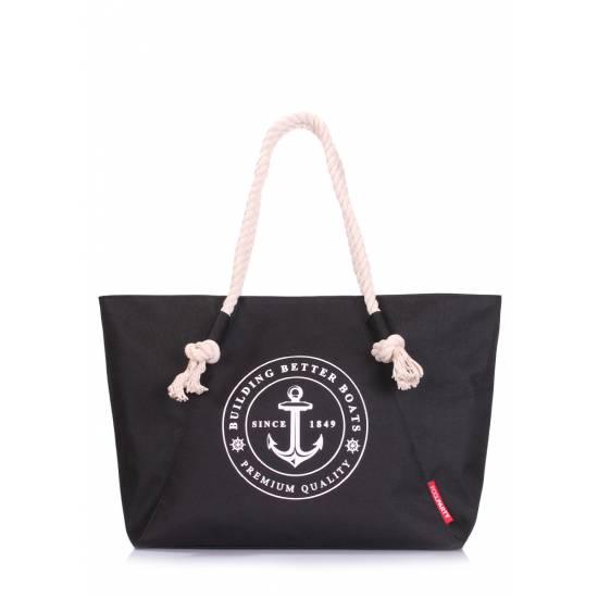Черная сумка с морским принтом