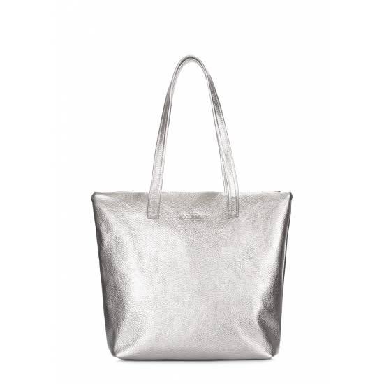 Женская кожаная сумка серебряного цвета