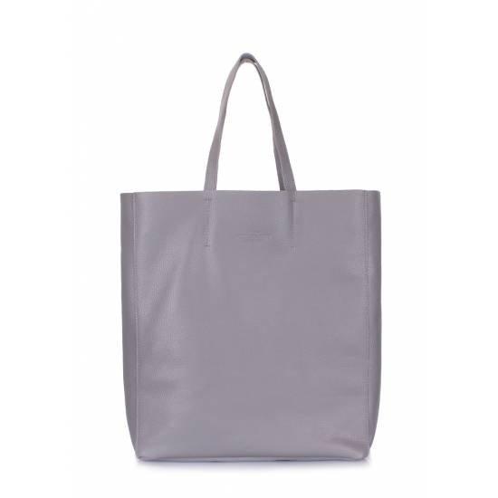 Кожаная сумка серого цвета