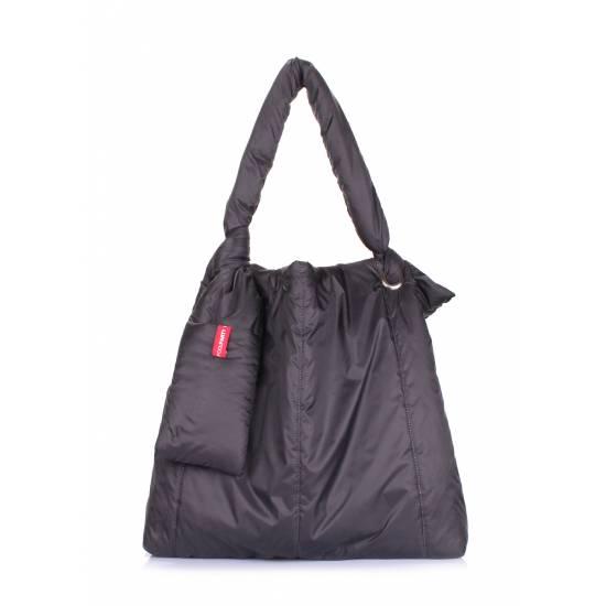 Дутая сумка черного цвета