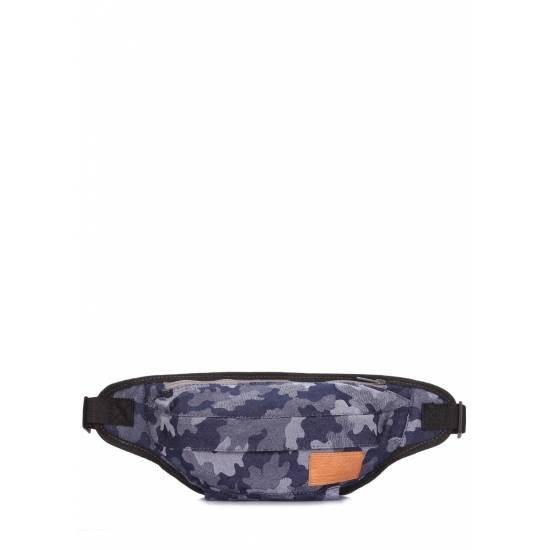 Джинсовая камуфляжная сумка синего цвета на пояс