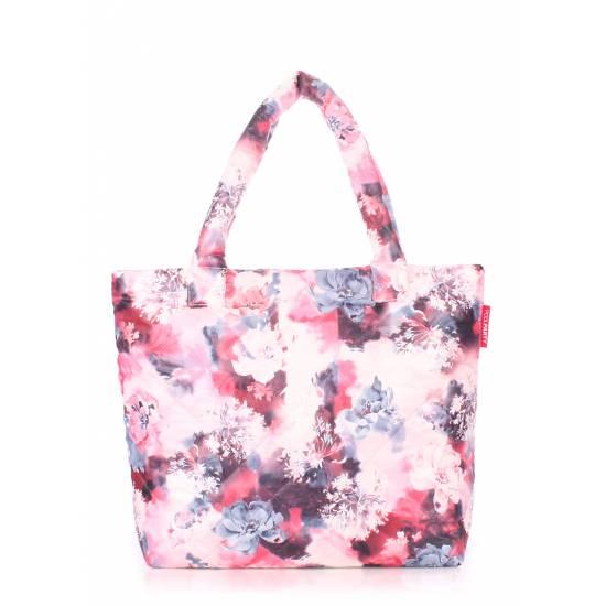 Дутая сумка розового цвета с принтом
