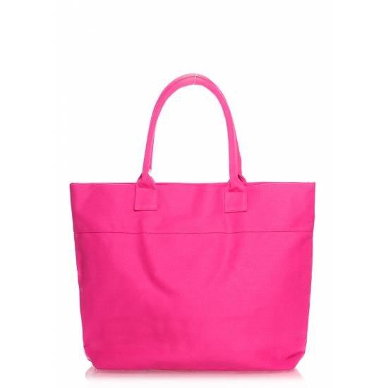 Коттоновая сумка малинового цвета