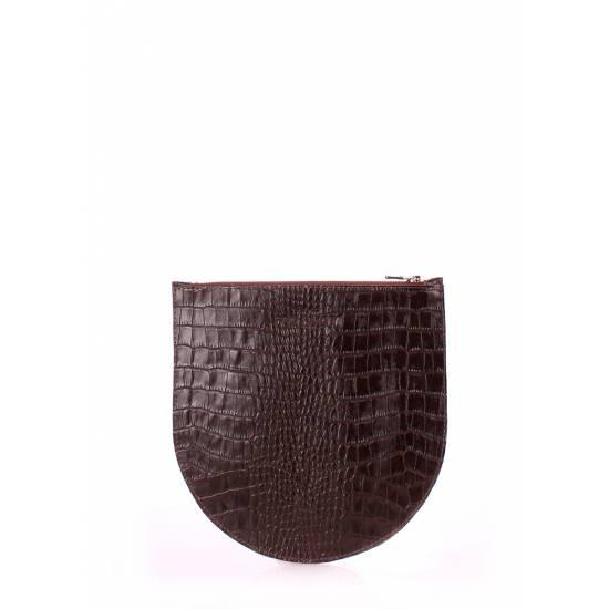 Кожаная косметичка-клатч коричневого цвета