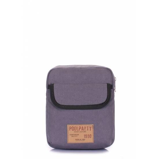 Мужская сумка серого цвета на плечо