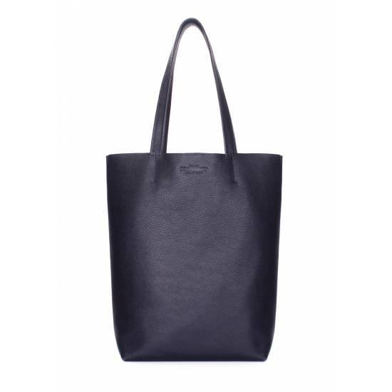 Кожаная сумка-шоппер синего цвета
