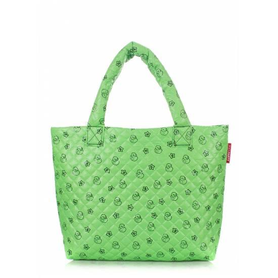 Дутая сумка зеленого цвета с принтом
