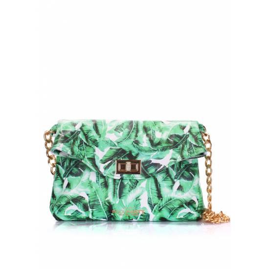 Кожаная сумочка-клатч зеленого цвета с цепочкой
