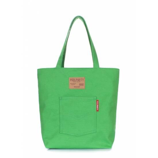 Коттоновая сумка зеленого цвета