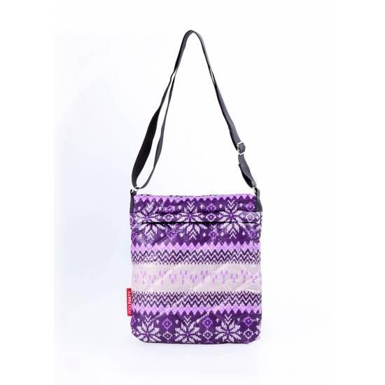 Сумка-планшет фиолетового цвета с северным орнаментом