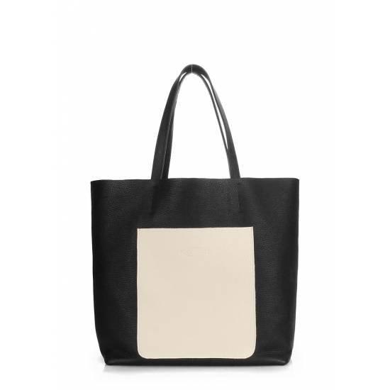 Кожаная сумка черно-бежевого цвета