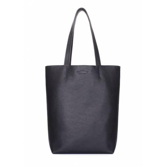 Кожаная сумка-шоппер черного цвета
