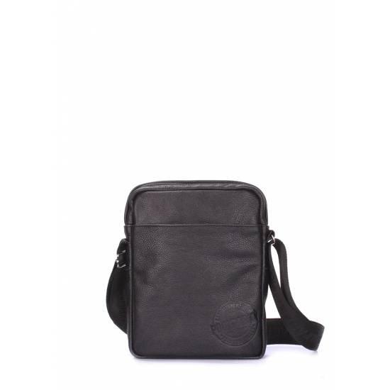 Мужская кожаная сумка черного цвета на плечо