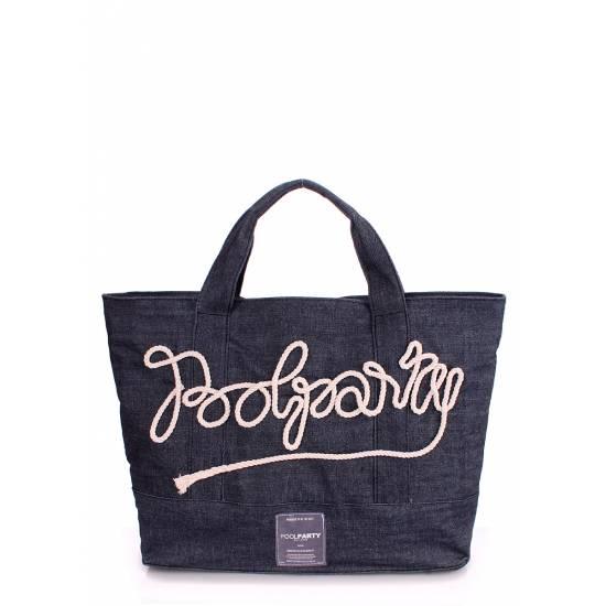 Джинсовая сумка-саквояж синего цвета