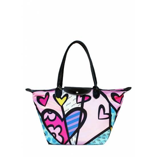 Розовая сумка в цветочный принт с клапаном