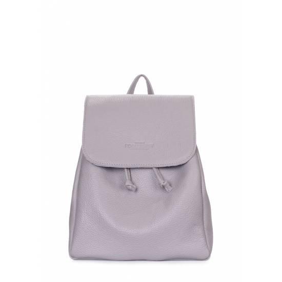 Кожаный рюкзак серого цвета на завязках